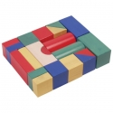 Fa építő kocka, színes 5 cm, 20 db