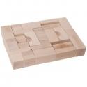 Fa építő kocka, natúr 4 cm, 32 db