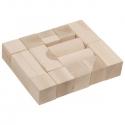 Fa építő kocka, natúr 5 cm, 20 db