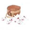 Játék porcelán teáskészlet fonott piknik kosárban, katicás