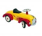 Lábbal hajtós fém autó (sárga-piros)