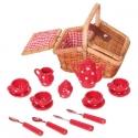 Játék porcelán teáskészlet fonott szögletes piknik kosárban