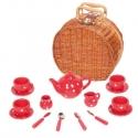 Játék porcelán teáskészlet fonott piknik kosárban, piros