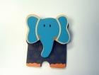 Csipeszes hűtőmágnes elefánt, kék  - fajáték