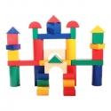 Fa építő kocka, színes 9 cm, 35 db