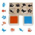 Fa játék nyomda készlet (8 db) - tengeri állatos