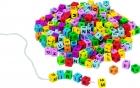 Fa gyöngyfűző kreatív készlet színes fa betűkből