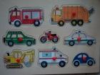 Fa puzzle 8 db-os fogantyús fa kirakó: Járművek
