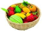 Fa játék gyümölcsök fonott kosárban