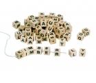 Fa gyöngyfűző kreatív készlet natúr fa betűkből