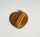Féldrágakő medál - Tigrisszem szív 2 cm