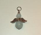 Akvamarin féldrágakő angyal medál, golyós