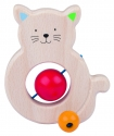 Fa babajáték: csörgő-rágóka, cica