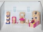Fa babaház bútor fürdőszoba, kiegészítőkkel