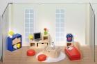 Fa babaház bútor nappali, kiegészítőkkel