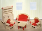 Fa babaház bútor, nappali