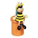 Fa ceruzuzatartó 6 db színesceruzával, méhecskés