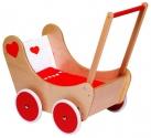Fa játék babakocsi ágyneművel, natúr-piros