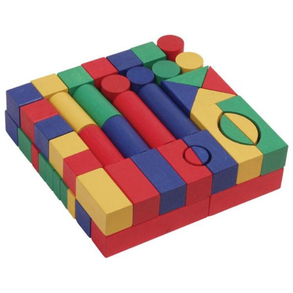 Fa építő kocka, színes 3 cm, 60 db