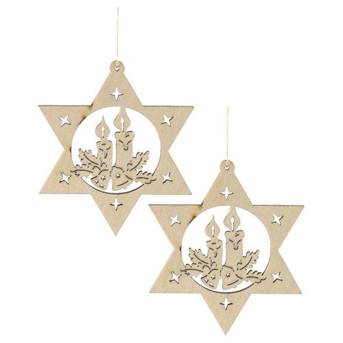 Fa karácsonyfadísz, csillag-gyertya