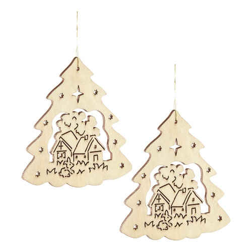 Fa karácsonyfadísz, fenyőfa-házikó